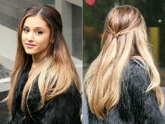 Ariana Grande gave the high ponytail a break with a pinned-back hairstyle in London on Wednesday, Oct. 8; see the pictures