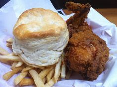 Photo of Brenda's French Soul Food - San Francisco, CA, United States. Biscuit, Fried Chicken, Fries