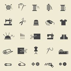 Sewing icons by Microvector on @creativemarket
