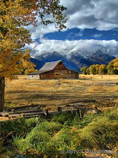 """""""Gold Around The Moulton Barn"""" by Jerry Patterson House Beautiful house of beauty wentzville missouri Farm Barn, Old Farm, Country Barns, Country Life, Country Living, Country Fall, Country Charm, Country Roads, Beautiful Places"""