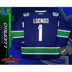 Roberto Luongo Vancouver Canucks Blue Reebok Premier Jersey - NHL Replica Adult Jerseys. Roberto Luongo Vancouver Canucks Blue Reebok Premier Jersey Comes with a Certificate of Authenticity from Sportsmemorabilia.com Comes fully certified with Certificate of Authenticity and tamper-evident hologram. Also backed by SportsMemorabilia.com's Authenticity Guarantee Hockey Birthday, Nhl Jerseys, Vancouver Canucks, Hologram, Authenticity, Reebok, Certificate, Motorcycle Jacket, Jackets