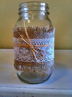 burlap+and+lace+wedding+ideas | Lace and Burlap Candle Holders or Flower Vase | Marketplace | 100 ...