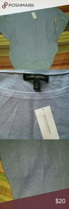 Soft Blue Sweater NWT. Adorable lightweight sweater. Longer length in back great for leggings. Banana Republic Sweaters Crew & Scoop Necks
