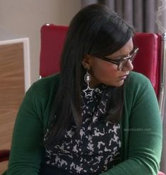 Mindy's black and white printed shirt with green cardigan and star earrings on The Mindy Project.  Outfit details: http://wornontv.net/13570/
