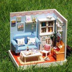 DK35 Lazy Time Dollhouse DIY Kit Cute Room House Model With Led Light
