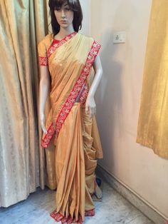 Gold color with red work border sico Uppada saree at www.vinnireddy.com