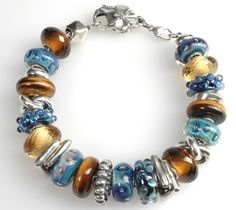 Perfect Trollbead Bracelet in blue and brown designed by Zauberperle.com