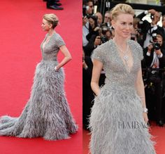 Elie Saab 2015 68th Cannes Luxurious Glittery Beads Gray Feathers Naomi Watts Celebrity Dresses V Neck Short Sleeve Prom Gown