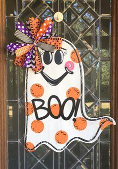Ghost door hanger Halloween door hanger Halloween decor by aWhitofWhimsy on Etsy https://www.etsy.com/listing/470168018/ghost-door-hanger-halloween-door-hanger