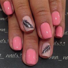 Black Feather Nail Art Design