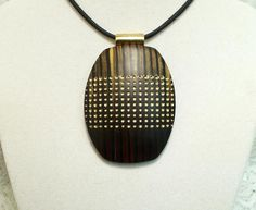 Large 60mm oval pendant mahogany gold black dots polymer clay by Sweet2Spicy, $8.50 USD