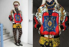 Vintage Courtesy Of H. Custodio Silk Scarf Bomber Jacket, Arnold Galang Equestrian Print Silk Button Down, Arnold Galang Silk Dropcrotch Cage Print Trousers, Chunky Matte Gold Chain Necklace, Cosmopolitan Scarf Print Baroque Shorts, Underground Leopard Pr