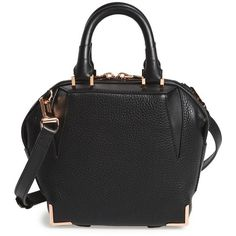 Alexander Wang 'Mini Emile' Leather Satchel (£530) ❤ liked on Polyvore featuring bags, handbags, black, genuine leather purse, mini handbags, genuine leather handbags, leather handbags and black satchel handbag