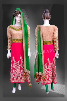 Pink and  White Embroidered Suit #FDSKH0027_001