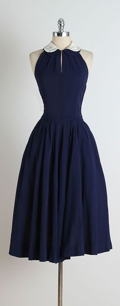 1950s Blue Jeweled Collar Halter Dress | From a collection of rare vintage day dresses at https://www.1stdibs.com/fashion/clothing/day-dresses/