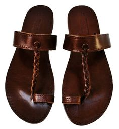 Dark brown leather sandals by NikolaSandals in Greece $46