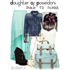 Daughter Of Poseidon Back To School Outfit, Cabin 3, Percy Jackson Inspired Outfit by reemabdulhussein on Polyvore featuring Miss Selfridge, J Brand, Diane Von Furstenberg, Wet Seal, Blue Nile, Minor Obsessions and ByReemA