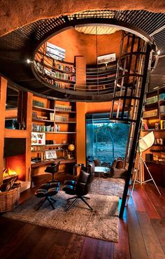 Loft In House . Loft In House . Pin by andrew Christian On House In 2020 Dream Home Design, My Dream Home, Home Interior Design, Casa Loft, Home Libraries, Loft Design, Design Model, Aesthetic Rooms, Industrial House