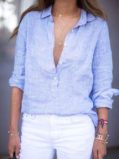 Buttoned Placket Vertical Striped Blouse - Blue