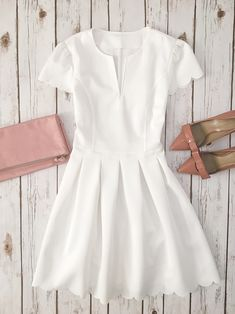 odette patent leather bow pumps, blush leather foldove clutch, White scalloped trim dress, summer outfit, bridal dress, summer outfits, petite fashion, scallop hem, bow pumps - click the photo for outfit details!
