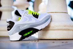 Nike Air Max 90 Breeze - Metallic Silver / Volt   KicksOnFire.com
