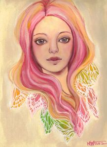 Love the colors and the wings/feathers in her hair. Kat McBride