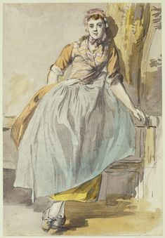 A country girl, full-length, facing front, leaning against a fence & a tree. Watercolor by Paul Sandby. RCIN Royal Collection Trust- Bangs showing! 18th Century Dress, 18th Century Costume, 18th Century Clothing, 18th Century Fashion, Royal Collection Trust, Baroque, Historical Clothing, Historical Costume, Fashion Plates