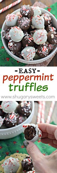 Easy Peppermint Truffles with a rich, decadent chocolate center! The perfect Christmas recipe.