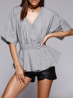 Trendy Women's Color Block Striped Kimono Blouse