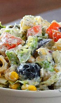 Creamy Pasta Salad with Greek Yogurt Feta Dressing