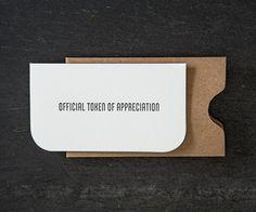 mini: official token. letterpress card. #732