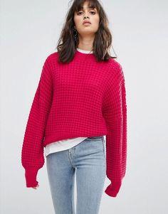 Weekday Waffle Knit Sweater - Pink