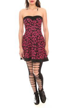 Black Pink Lips Sweetheart Tube Dress