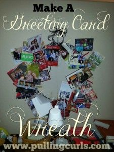 How to make a greeting card wreath for all your favorite friends and their adorable pictures to look at you year round (we also use ours for wedding & graduation annoucements).