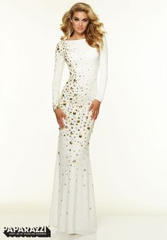 97070 Prom Dresses / Gowns Long Sleeve Backless Studded Jersey White