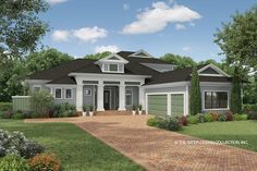 The Beasley is a modern, contemporary farmhouse plan. Traditional looking columns lead to the home's covered entry. Siding and flat tile roofing add detailing. Country Style House Plans, Cottage House Plans, Cottage Homes, House Floor Plans, Farmhouse Plans, Modern Farmhouse, Farmhouse Design, Custom Home Plans, Mediterranean Design