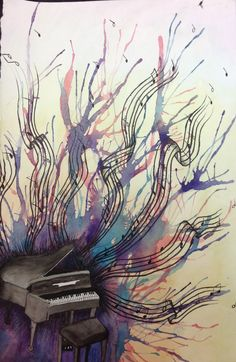 Watercolor & Ink. High School painting - choose an object that inspires you and express that...