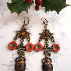 Boucles d'oreilles bronze et perles de bohèmes orange