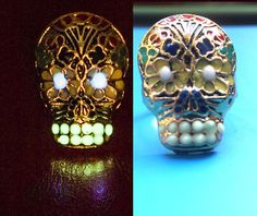 Halloween Skull Ring, Sugar Skull Ring, Day of the Dead Ring, Skull Jewelry, Halloween Ring, Halloween Gift, Glowing, Glow in the Dark by UptownGirlFashion on Etsy https://www.etsy.com/listing/245242094/halloween-skull-ring-sugar-skull-ring