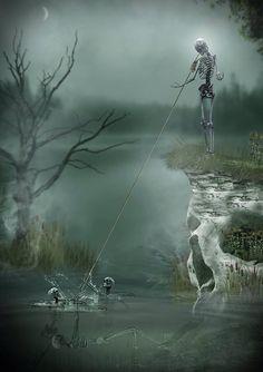 Badass Skulls Dark Gothic Art Skull Skeletons Side Fantasy Fine