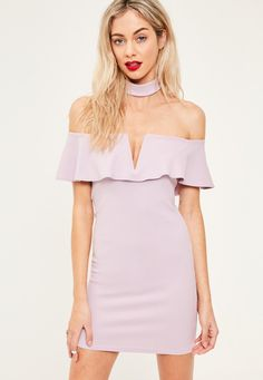 Missguided - Purple Crepe Choker Frill Detail Bodycon Dress