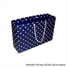 Sacola de papel para presentes azul bolinha branca