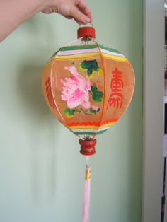Hand painted vintage Chinese silk lantern orange with pink flowers Hong Kong rare, with tassel