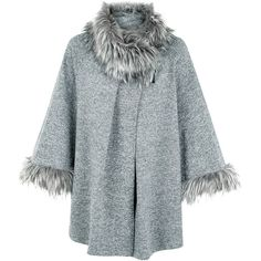 Cameo Rose Grey Faux Fur Trim Jacket ($45) ❤ liked on Polyvore featuring outerwear, jackets, wrap jacket, gray jacket, 3/4 sleeve jacket, grey jacket and faux fur trim jacket