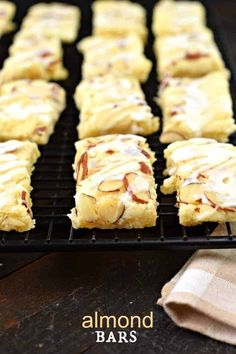 Sue - This Almond Bars recipe is a sweet treat that has a shortbread-like texture and a delicious almond glaze on top! You'll want to make extra and freeze them for later! Almond Pastry, Almond Bars, Cake Bars, Dessert Bars, Cakepops, Cookie Recipes, Dessert Recipes, Bar Recipes, Healthy Recipes