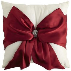 Pier One Red Bow Pillow ($20) found on Polyvore
