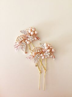 Rose Gold hair pins Bridal hair pins leaf hair pins by amuandpri