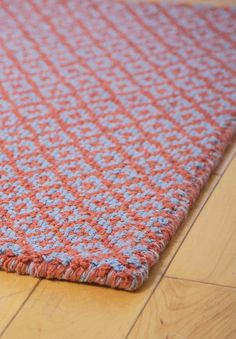 Diamonds Forever Orange/Blue Eco Cotton Loom-Hooked Rug - Hook & Loom