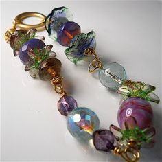 Iridescent lamp work beads