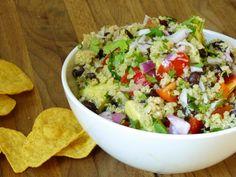 Quinoa Avacado salad with black beans and cilantro lime dressing.